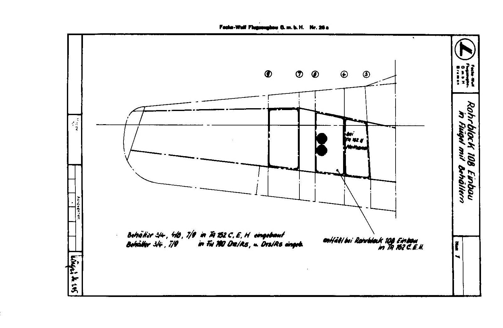 Einbau von 2 Rohrblock 108 in den Fügel Ta 152 C und H.