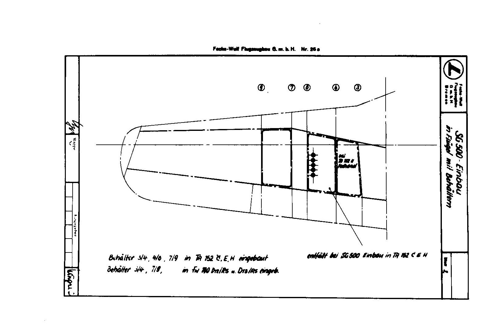 Einbau von 5 SG 500 in Ta 152 C und H Flügel (Projekt)